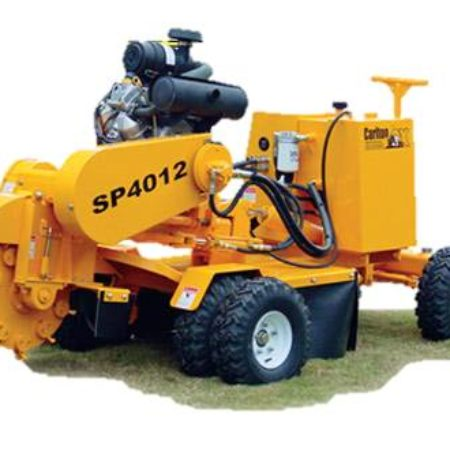 yellow diesel stump grinder with trailer