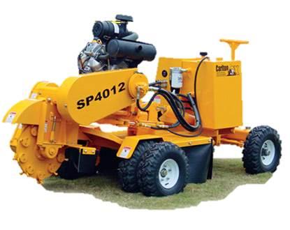 yellow diesel stump grinder with trailer