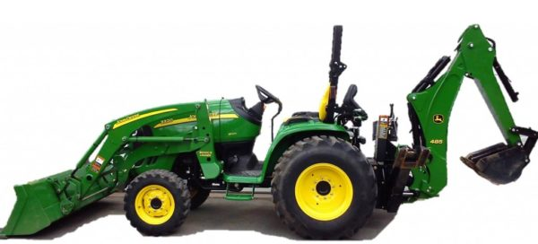 green tractor with attachments